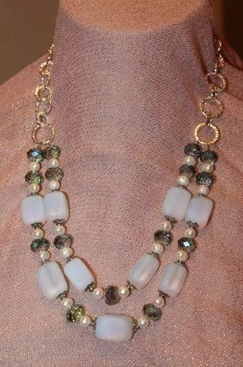 Iriedescent Sea Glass, Green Crystal, White Pearls and Silver