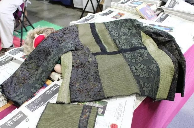Back view of partially finished Shades of Olive sample jacket
