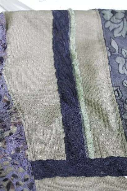 Selvage and lace used on back