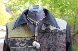 Dana's Shades of Olive Jacket with Semi-Precious Stone Lariat Necklace
