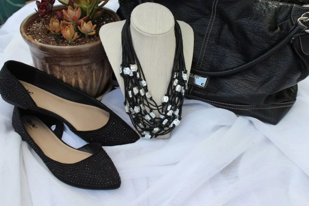 Necklace from Stein Mart, Black D Orsay flats from Target, Nine West Bag