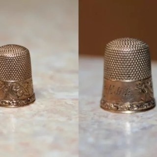 Inherited & engraved grandmother's aunt 'Edith' thimble