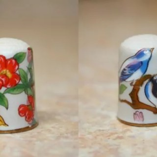 Painted Porcelain thimble form China