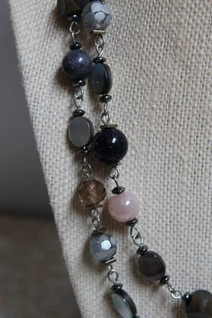 Navy, gold, silver, light pink, shell, pearl beads