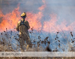 Spraying the fire embers