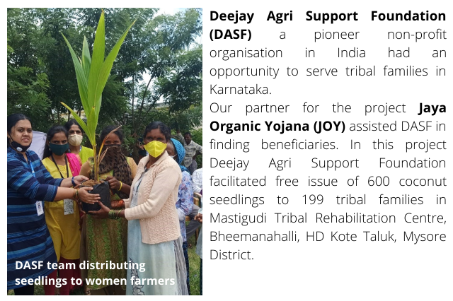 DASF supports 199 tribal families in Mastigudi, Mysore District