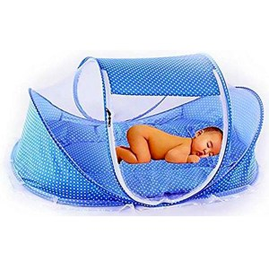 mosquito net in a cot for baby