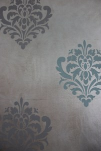 silver leaf with raised plaster stencil