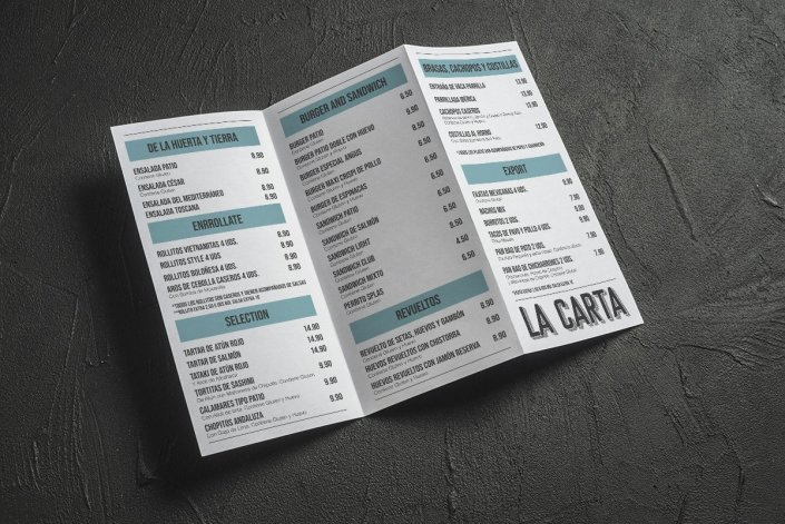 Diseño cartas el Patio