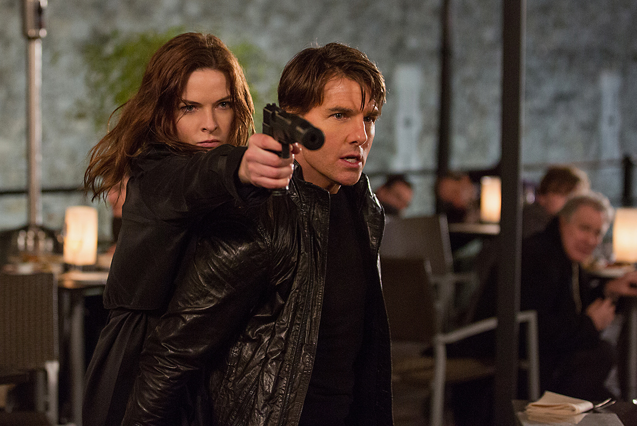 Rebecca Ferguson and Tom Cruise in Mission: Impossible — Rogue Nation