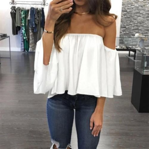 Fashionable Long Sleeve Pullover Blouse