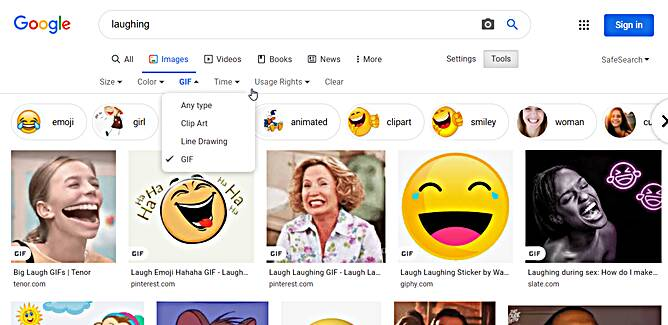 Tricks and tips : Search for Gifs From Google Images