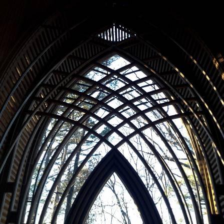 Gothic arch window at Cooper Chapel in Bella Vista, AR
