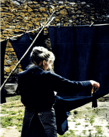 The late Susan Bosence, dyeing indigo in Devon in the early 1980s.