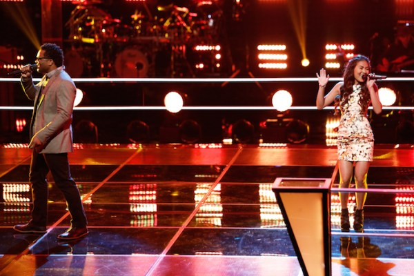 """THE VOICE --  """"Battle Rounds"""" Episode 708 -- Pictured: (l-r) Blessing Offor, Katriz Trinidad -- (Photo by: Tyler Golden/NBC)"""