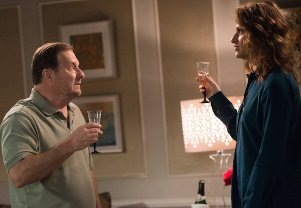 "BROOKLYN NINE-NINE: Boyle's father (guest star Stephen Root, L) and Gina's mother (guest star Sandra Bernhard, R) meet in the ""Jake and Sophia"" episode airing Sunday, Nov. 9 (8:30-9:00 PM ET/PT) on FOX. ©2014 Fox Broadcasting Co. CR: Eddy Chen/FOX"