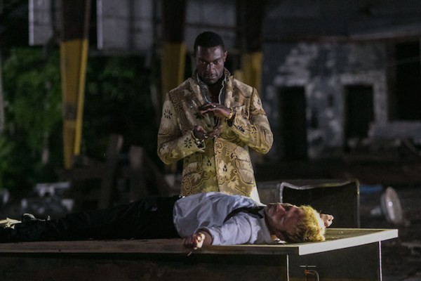 "CONSTANTINE -- ""The Devil's Vinyl"" Episode 104 -- Pictured: (l-r) Michael James Shaw as Papa Midnite, Matt Ryan as John Constantine -- (Photo by: Tina Rowden/NBC)"