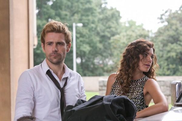 "CONSTANTINE -- ""The Devil's Vinyl"" Episode 104 -- Pictured: (l-r) Matt Ryan as John Constantine, Angelica Celaya as Zed Martin -- (Photo by: Tina Rowden/NBC)"