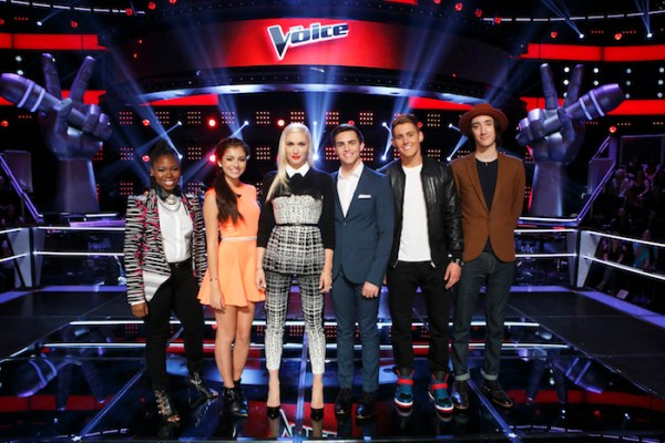 THE VOICE -- Knockout Rounds -- Pictured: (l-r) Anita Antoinette, Bryana Salaz, Gwen Stefani, Ricky Manning, Ryan Sill, Taylor John Williams -- (Photo by: Trae Patton/NBC)