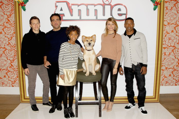 New York, NY - December 4, 2014: Director Will Gluck, Bobby Cannavale, Quvenzhané Wallis, Sandy the Dog, Cameron Diaz, Jamie Foxx at the Junket Photo Call for Columbia Pictures´ ANNIE at the Crosby Street Hotel.