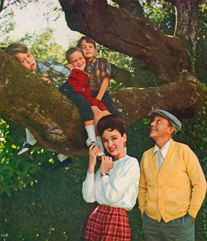 "(l to r) Nathaniel, Mary and Harry with their parents Kathryn and Bing Crosby as seen in ""American Masters: Bing Crosby Rediscovered."" Photo credit: Courtesy of Bing Crosby Enterprises"
