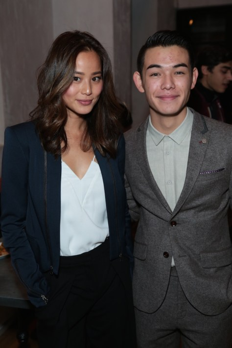 Jamie Chung and Ryan Potter arrive as Disney celebrates their 2015 Golden Globes nominees from Into the Woods, Big Hero 6, and The Hundred-Foot Journey in Los Angeles, California on Saturday, January 10, 2015. (Photo: Alex J. Berliner/ABImages)