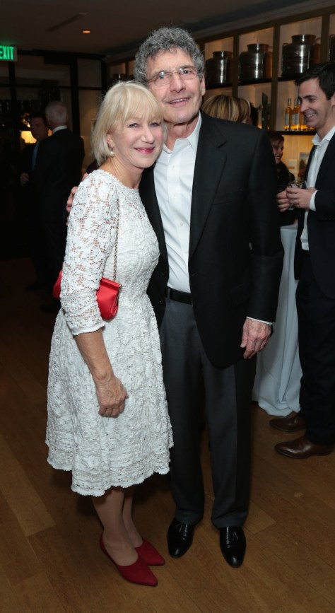 Helen Mirren and Alan Horn pose together as Disney celebrates their 2015 Golden Globes nominees from Into the Woods, Big Hero 6, and The Hundred-Foot Journey in Los Angeles, California on Saturday, January 10, 2015. (Photo: Alex J. Berliner/ABImages)