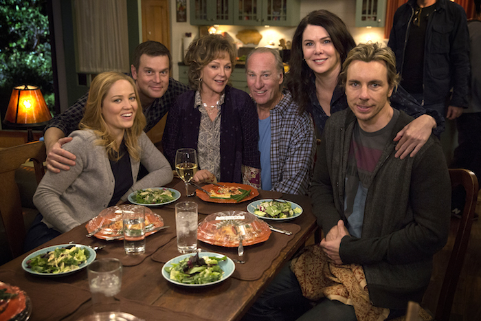 "PARENTHOOD -- ""We Made It Through The Night"" Pictured: (l-r) Erika Christensen as Julia Braverman-Graham, Peter Krause as Adam Braverman, Bonnie Bedelia as Camille Braverman, Craig T. Nelson as Zeek Braverman, Lauren Graham as Sarah Braverman, Dax Shepard as Crosby Braverman -- (Photo by: Justin Lubin/NBC)"