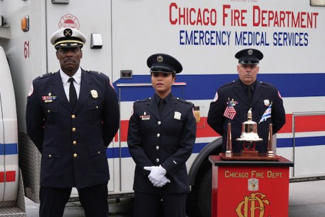 CHICAGO FIRE - Pictured: (l-r) Eamonn Walker as Chief Wallace Boden, Monica Raymund as Gabriela Dawson -- (Photo by: Elizabeth Morris/NBC)