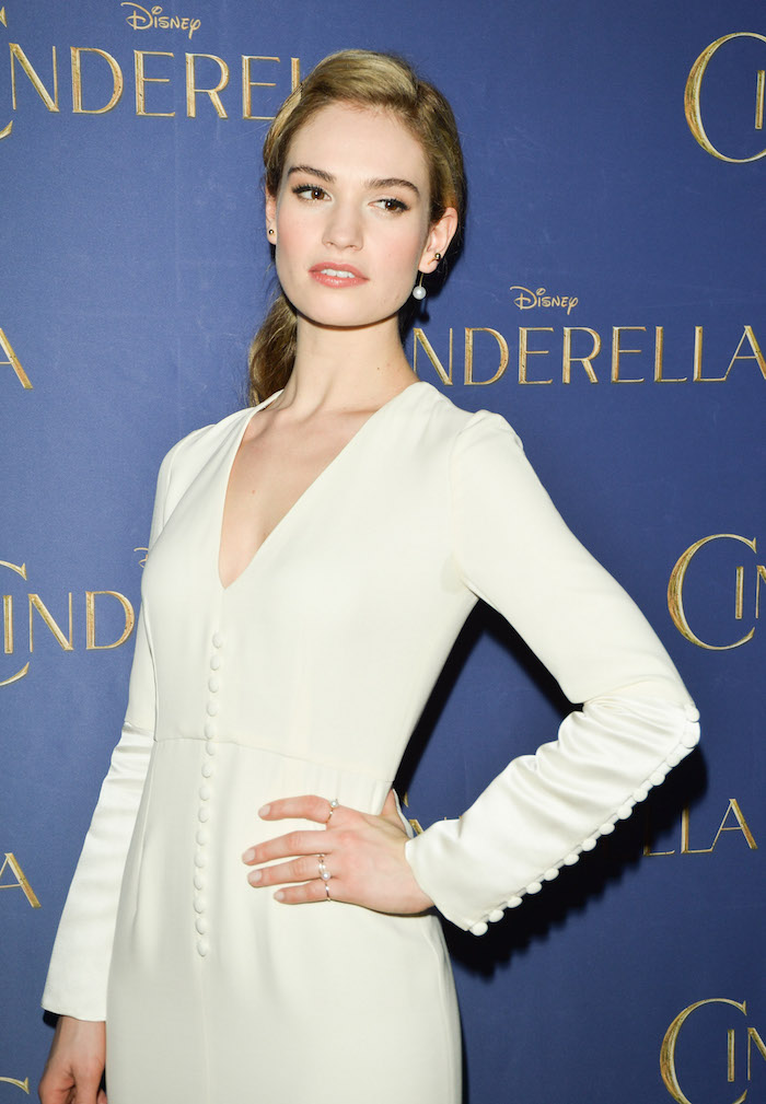 """Toronto, March 11: Lily James (in Dior with Aquazzura shoes and Olympia leTan bag), star of the highly-anticipated, critically-acclaimed """"CINDERELLA,"""" delights audiences at a screening of the film at Scotiabank Theatre, on the latest stop of the film's worldwide tour. photo: George Pimentel"""