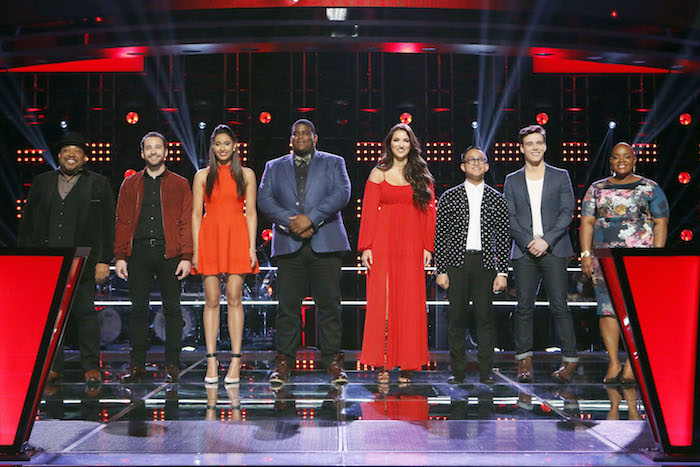 "THE VOICE -- ""Knockout Rounds"" - Barry Minniefield, Joshua Davis, Lexi Davila, Blaze Johnson, Deanna Johnson, Nathan Hermida, Clinton Washington, Tonya Boyd-Cannon -- (Photo by: Trae Patton/NBC)"