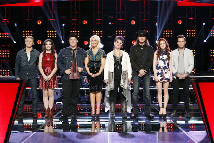 THE VOICE  -- Pictured: (l-r) Corey Kent White, Kelsie May, Brian Johnson, Meghan Linsey, Sarah Potenza, Cody Wickline, Brooke Adee, Travis Ewing -- (Photo by: Trae Patton/NBC)