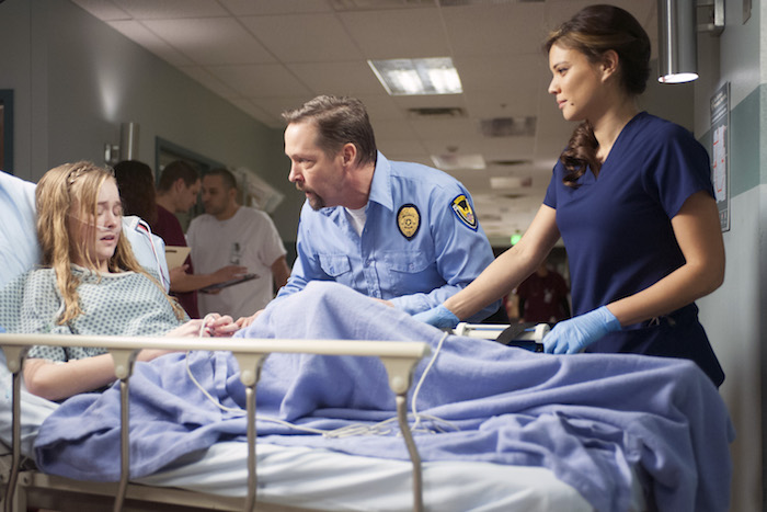 THE NIGHT SHIFT -- Claire Hinkley as Taylor, DB Sweeney as Dennis Sawyer, Jeananne Goossen as Krista Bell-Hart -- (Photo by: Lewis Jacobs/NBC)