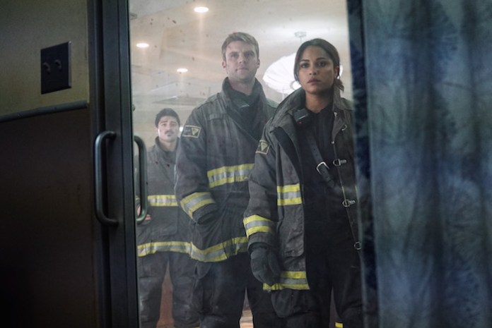 "CHICAGO FIRE -- ""I Am The Apocalypse"" Episode 319 -- Pictured: (l-r) Yuri Sardarov as Otis, Jesse Spencer as Matthew Casey, Monica Raymund as Gabriela Dawson -- (Photo by: Elizabeth Morris/NBC)"