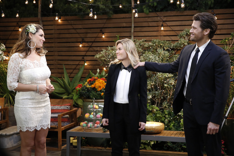 "ONE BIG HAPPY -- ""Wedlocked"" -- Pictured: (l-r) Kelly Brook as Prudence, Elisha Cuthbert as Lizzy, Nick Zano as Luke -- (Photo by: Greg Gayne/NBC)"