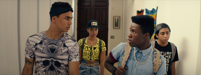 Quincy Brown as Jaleel, Kiersey Clemons as Diggy, Shameik Moore as Malcolm and Tony Revolori as Jib in DOPE, opening June 19, 2015.