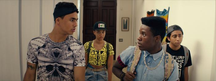 Quincy Brown as Jaleel, Kiersey Clemons as Diggy, Shameik Moore as Malcolm and Tony Revolori as Jib in DOPE, opening June 19, 2015.