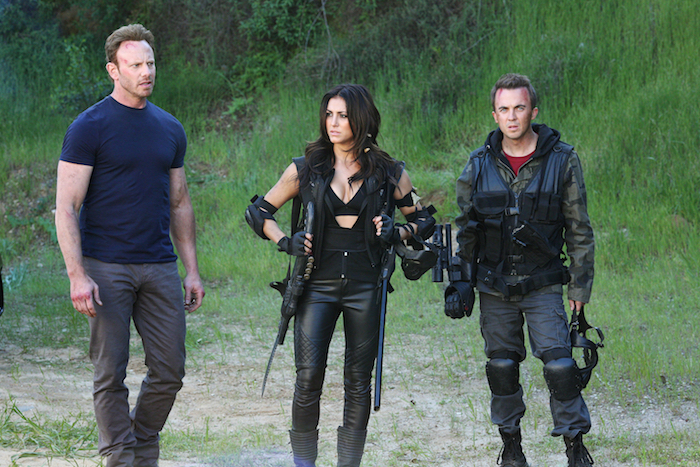 SHARKNADO 3: OH HELL NO! -- Pictured:  (l-r) Ian Ziering as Fin Shepard, Cassie Scerbo as Nova Clarke, Frankie Munoz as Lucas -- (Photo by: Raymond Liu/Syfy)