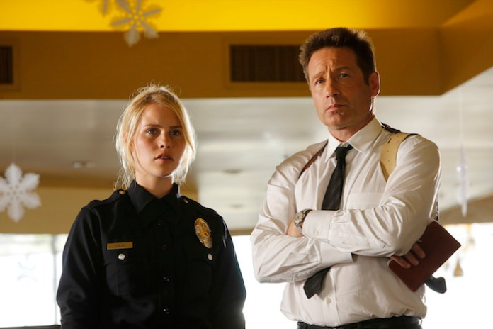 """AQUARIUS -- """"Why"""" Pictured: (l-r) Claire Holt as Charmain Tully, David Duchovny as Sam Hodiak -- Photo by: (Vivian Zink/NBC)"""