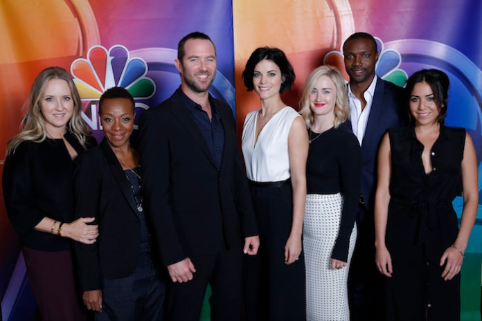 "NBCUNIVERSAL EVENTS -- NBCUniversal Press Tour, August 2015 -- ""Blindspot"" -- Pictured: (l-r) Jennifer Salke, President, NBC Entertainment; Marianne Jean-Baptiste, Sullivan Stapleton, Jaimie Alexander, Ashley Johnson, Rob Brown, Audrey Esparza -- (Photo by: Chris Haston/NBCUniversal)"