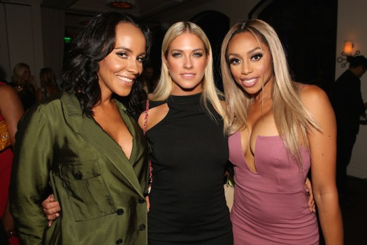 "NBCUNIVERSAL EVENTS -- NBCUniversal Press Tour, August 2015 -- Spago Party -- Pictured: (l-r) Ashley North, Barbie Blank, Autumn Ajirotutu, E!'s ""WAGS"" -- (Photo by: Evans Vestal Ward/NBCUniversal)"