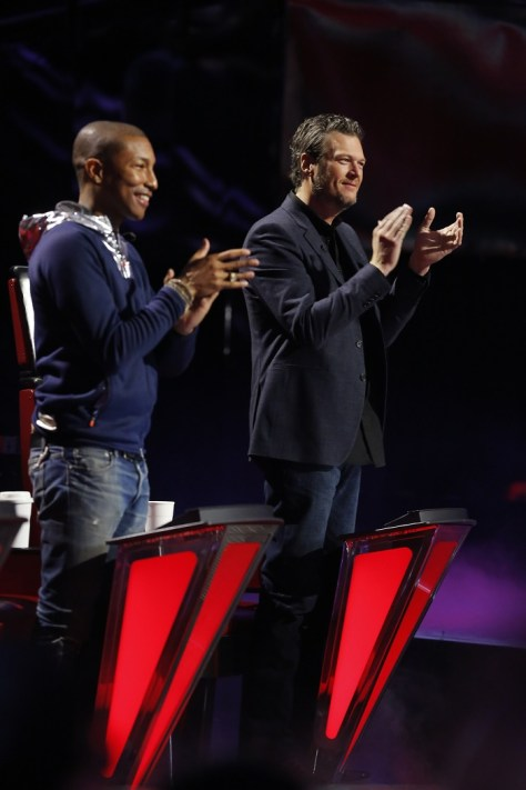 "THE VOICE -- ""Live Top 10"" -- Pictured: (l-r) Pharrell Williams, Blake Shelton -- (Photo by: Trae Patton/NBC)"