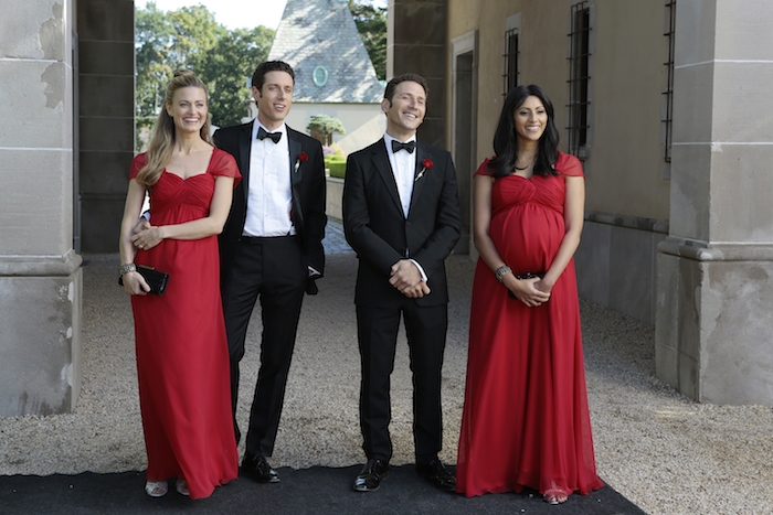 "ROYAL PAINS -- ""The Good News Is...""-- Pictured: (l-r) Brooke D'Orsay as Paige Collins, Paulo Costanzo as Evan Lawson, Mark Feuerstein as Dr. Hank Lawson, Reshma Shetty as Divya Katdare -- (Photo by: Giovanni Rufino/USA Network)"