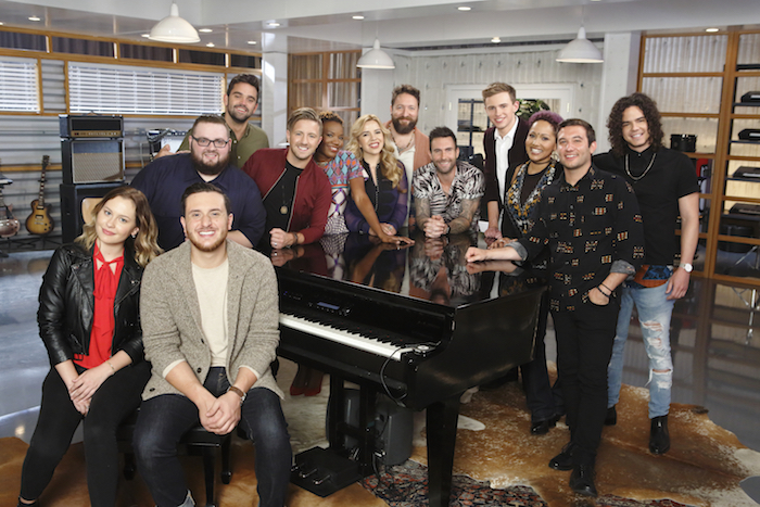 "THE VOICE -- ""Team Adam Battle Reality"" -- Pictured: (l-r) Natasha Bure, Ponciano Seoane, JSoul, Brendan Fletcher, Billy Gilman, Simone Gundy, Elia Esparza, Nolan Neal, Adam Levine, Riley Elmore, Bindi Liebowitz, Andrew Demuro, Johnny Rez -- (Photo by: Trae Patton/NBC)"
