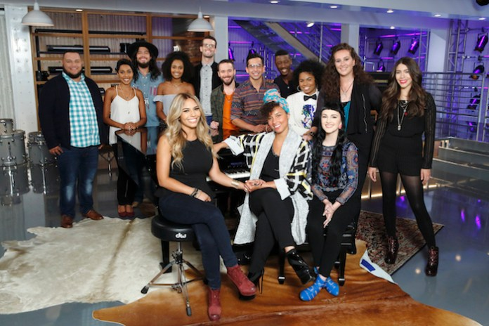 "THE VOICE -- ""Team Alicia Battle Reality"" -- Pictured: (l-r) Christian Cuevas, Whitney, Josh Halverson, Shannon, Lauren Diaz, Dave Moisan, Gabriel Violett, Michael Sanchez, Alicia Keys, Jason Warrior, We' McDonald, Belle Jewel, Kylie Rothfield, Halle Tomlinson -- (Photo by: Trae Patton/NBC)"