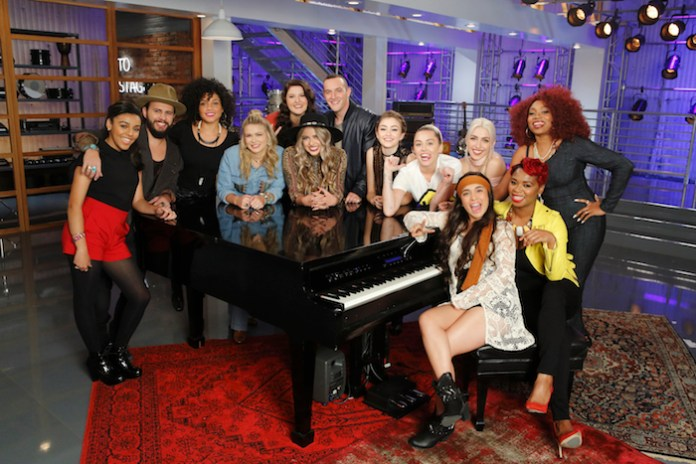 "THE VOICE -- ""Team Miley Battle Reality"" -- Pictured: (l-r) Josette Diaz, Lane Mack, Sophia Urista, Charity Bowden, Karlee Metzger, Darby Walker, Aaron Gibson, Khaliya Kimberlie, Miley Cyrus, Courtnie Ramirez, Maye Thomas, Ali Caldwell, SaRayah -- (Photo by: Trae Patton/NBC)"