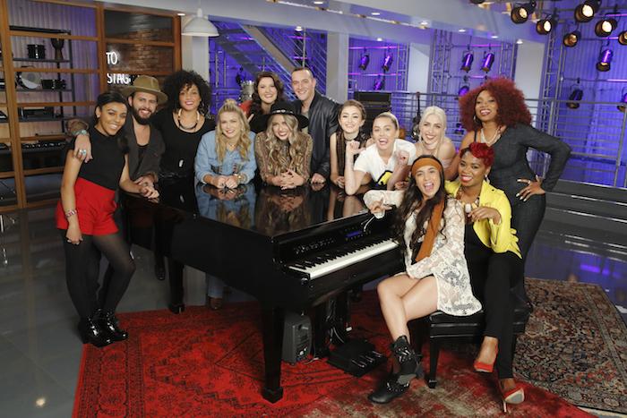 "THE VOICE -- ""Team Miley Battle Reality"" -- Pictured: (l-r) Josette Diaz, Lane Mack, Sophia Urista, Charity Bowden, Karlee Metzger, Darby Walker, Aaron Gibson, Khaliya Kimberlie, Miley Cyrus, Courtnie Ramirez, Maye Thomas, Ali Caldwell, SaRayah -- (Photo by: Trae Patton/NBC)"