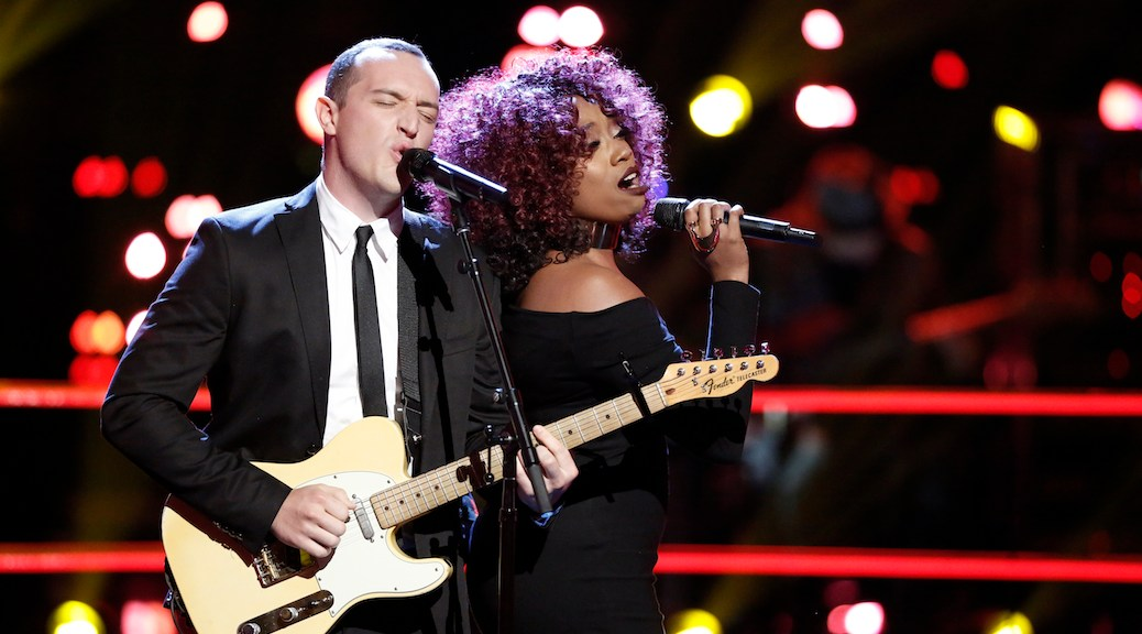 "THE VOICE -- ""Battle Rounds"" -- Pictured: (l-r) Aaron Gibson, SaRayah -- (Photo by: Tyler Golden/NBC)"