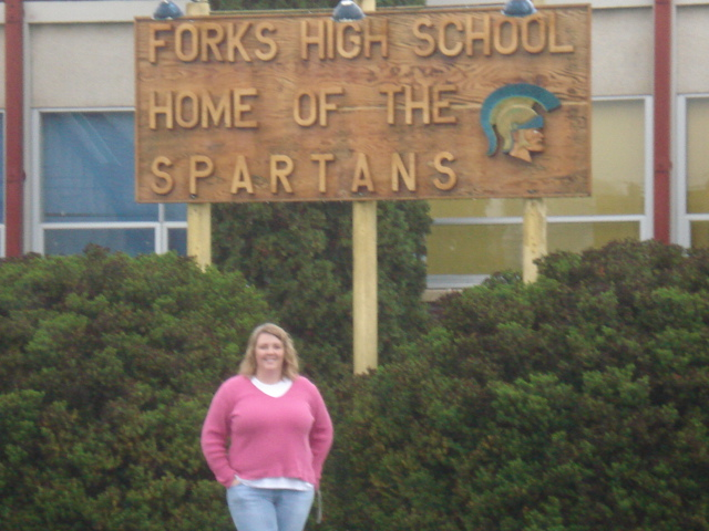 Me, in front of Forks High School