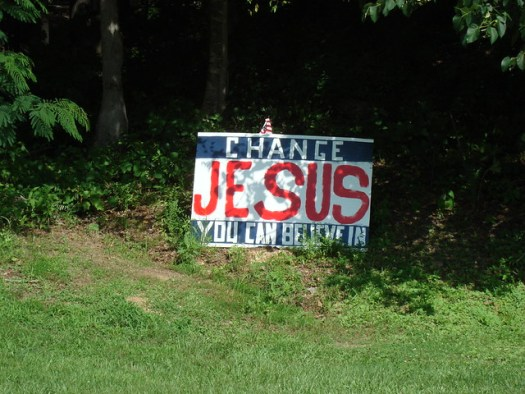 """Religious Roadsign: """"Jesus, Change You Can Believe In"""", Found Between Mt. Cheaha and Oxford, Alabama"""